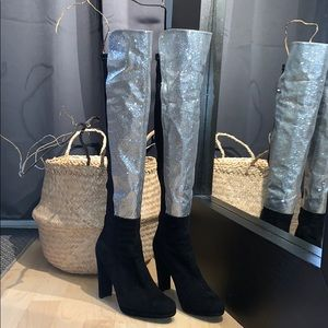 📌Stuart Weitzman Silver 50/50 Stretch Knee Boot
